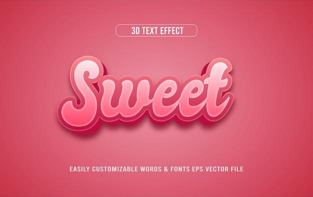 Słodki edytowalny styl efektu tekstowego 3d