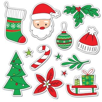 Słodki element świąteczny w stylu doodle, zestawy naklejek świątecznych w kolorze czerwonym i zielonym