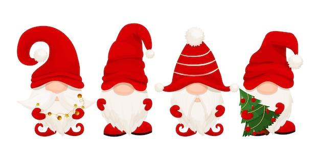 Słodki elf świąteczny gnom w czerwonym kapeluszu w stylu kreskówki