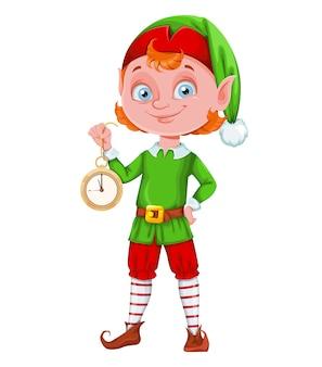 Słodki elf świąteczny wesołych świąt i szczęśliwego nowego roku