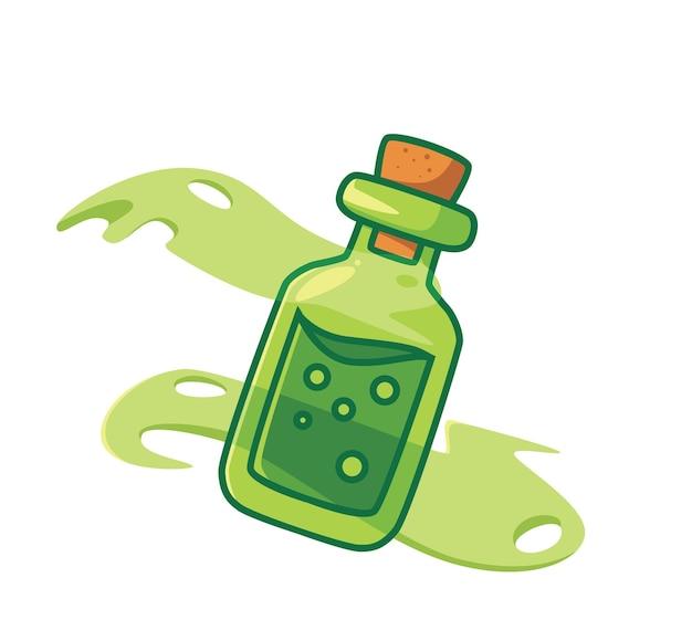 Słodki eliksir w butelce jest niebezpieczny. kreskówka koncepcja zdarzenia halloween ilustracja na białym tle. płaski styl nadaje się do naklejki ikona design premium logo wektor. postać maskotki