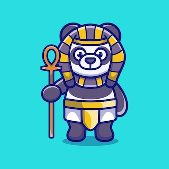 Słodki faraon panda niosący kij