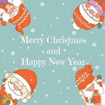 Słodki gnom świętego mikołaja i bałwan z banerem powitalnym bożego narodzenia i nowego roku