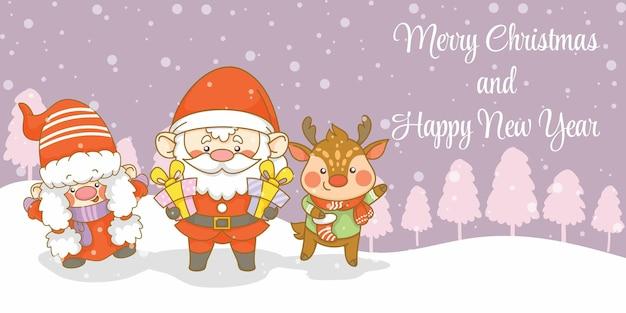 Słodki gnom świętego mikołaja i jeleń z banerem z życzeniami bożonarodzeniowymi i noworocznymi