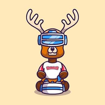 Słodki gracz grający w jelenie z zestawem słuchawkowym do wirtualnej rzeczywistości