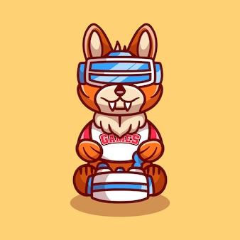 Słodki gracz lisa grający w grę z zestawem słuchawkowym do wirtualnej rzeczywistości