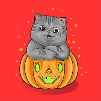 Słodki gruby kot pozdrowienia halloween