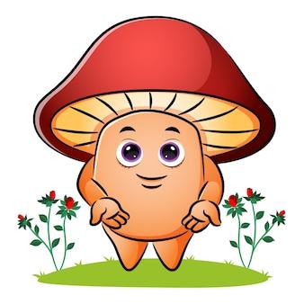 Słodki grzyb jest w przyjaznej pozycji ilustracji