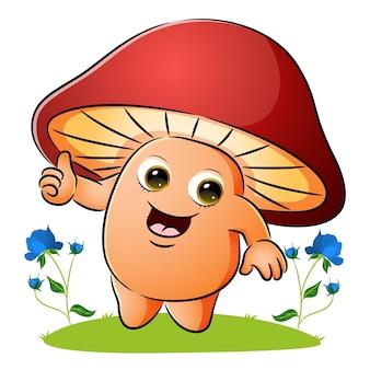 Słodki grzyb pokazuje kciuk ilustracji
