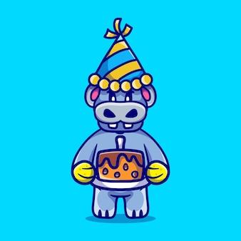 Słodki hipopotam świętuje szczęśliwego nowego roku lub urodziny