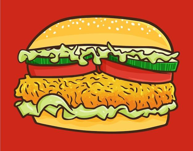 Słodki i kawaii pyszny burger z kurczaka na posiłek