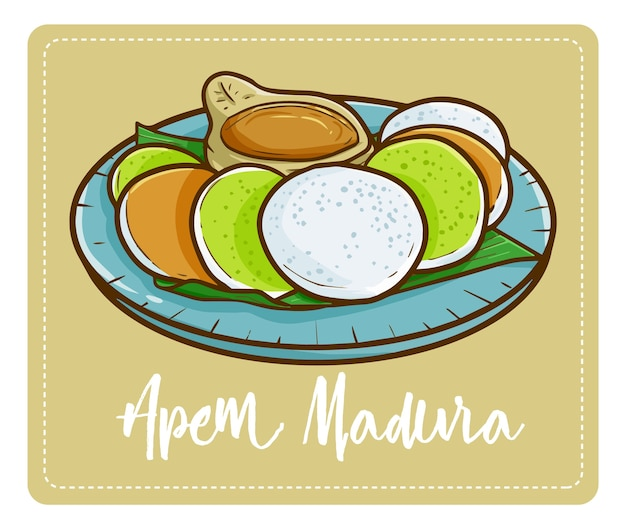 """Słodki i pyszny """"apem madura"""", tradycyjne ciasto z wyspy madura we wschodniej jawie. podawany z sosem z cukru brwiowego i smakuje tak słodko"""