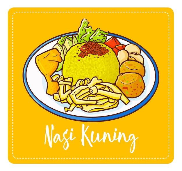 """Słodki i pyszny """"nasi kuning"""" lub """"żółty ryż"""" w języku angielskim. czasami nazywany nasi kunyit. indonezyjska pachnąca potrawa ryżowa gotowana z mlekiem kokosowym i kurkumą smakuje tak wyśmienicie."""