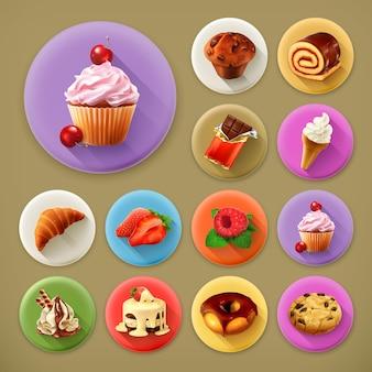 Słodki i smaczny, długi cień zestaw ikon