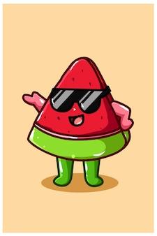 Słodki i szczęśliwy arbuz w okularach przeciwsłonecznych ilustracja kreskówka