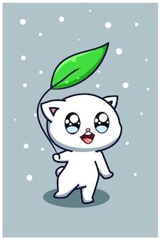Słodki i szczęśliwy kot z ilustracją kreskówki liści