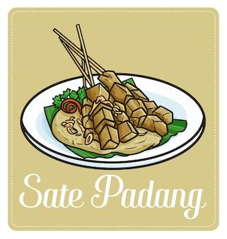 """Słodki i zabawny """"sate padang"""", tradycyjne potrawy satay z padang na sumatrze w indonezji."""