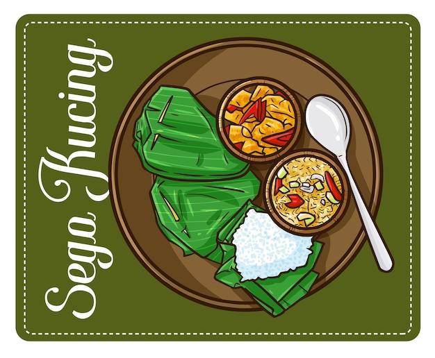 """Słodki i zabawny """"sego kucing"""", tradycyjny ryż z jawy w indonezji."""