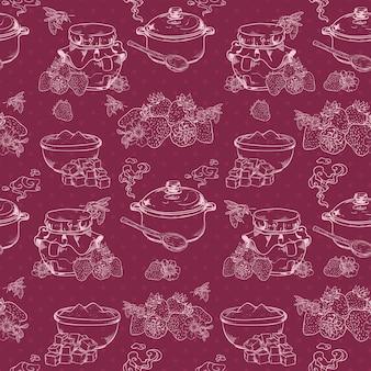 Słodki i zdrowy domowej roboty dżem truskawkowy zarys bezszwowe wzór z jagodami i ilustracji wektorowych cukru