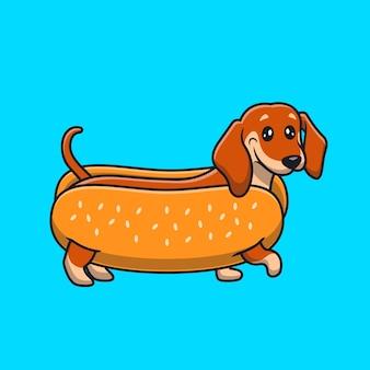 Słodki jamnik hotdog kreskówka