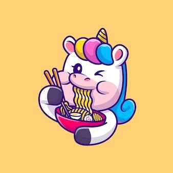 Słodki jednorożec jedzący ramen makaron ilustracja kreskówka