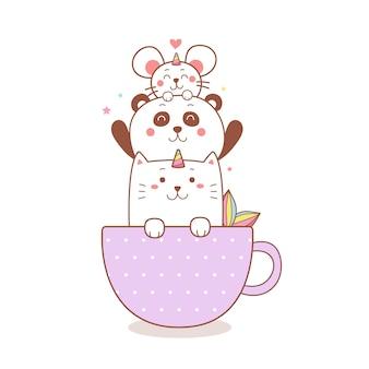 Słodki jednorożec kot, panda i kreskówka szczur w filiżance.