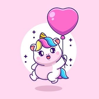 Słodki jednorożec latający z balonem