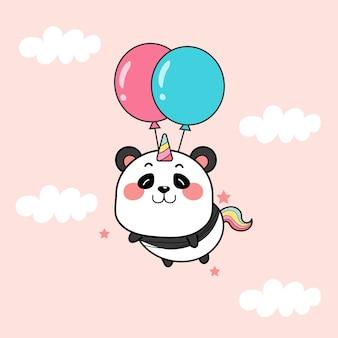 Słodki jednorożec panda z balonami.