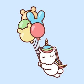 Słodki jednorożec trzymający balony