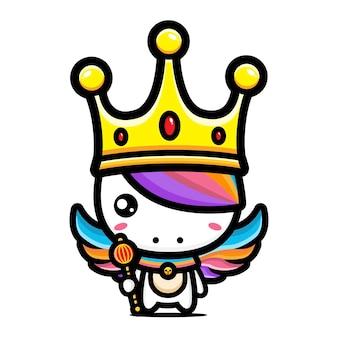 Słodki jednorożec w koronie króla