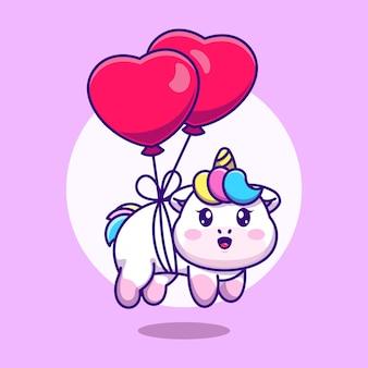 Słodki jednorożec z balonem w kształcie serca