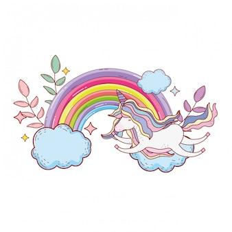Słodki jednorożec z chmurami i tęczą