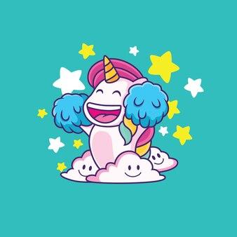 Słodki jednorożec z dużym uśmiechem