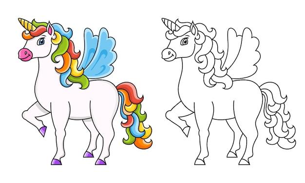 Słodki jednorożec ze skrzydłami magiczny bajkowy koń
