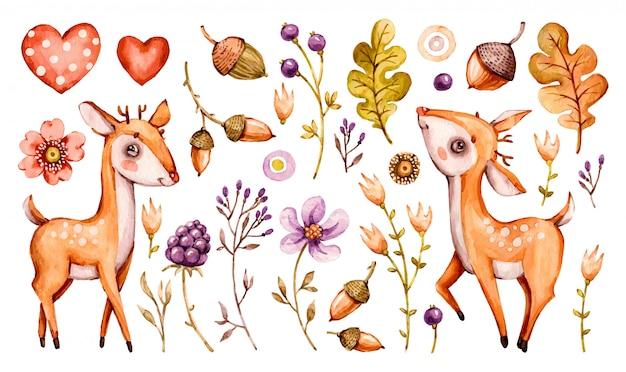 Słodki jeleń. las akwarela przedszkola kreskówka leśne zwierzęta jelenie, liście kwiatów. zestaw uroczych leśnych szkółek