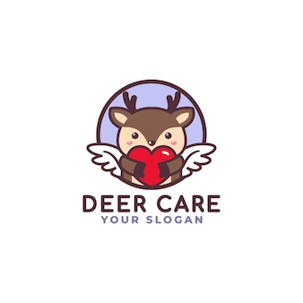 Słodki jeleń przytulanie serca opieka logo maskotka sklep dla dzieci