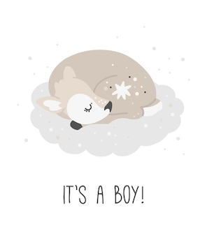 Słodki jeleń to chłopiec, druk dla dzieci