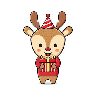 Słodki jeleń trzyma prezent świętujący boże narodzenie kreskówka doodle ikona ilustracja płaski styl kreskówki
