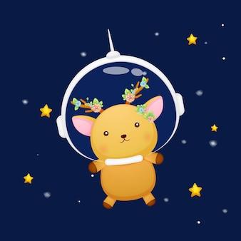 Słodki jeleń w kasku astronauty kreskówka zwierząt