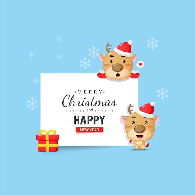 Słodki jeleń z życzeniami świątecznymi i noworocznymi