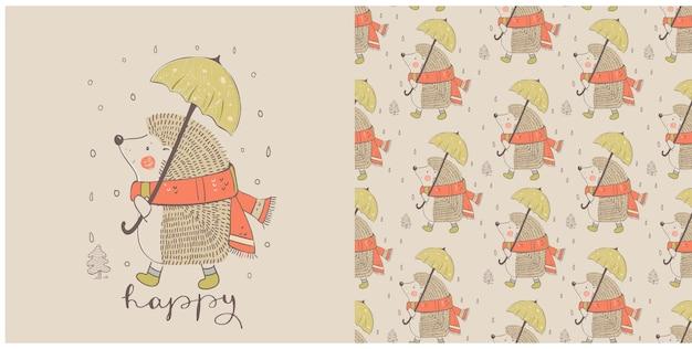 Słodki jesienny jeż z parasolem i bezszwowym wzorem wyciągnąć rękę