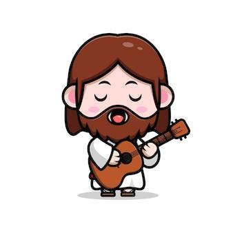 Słodki jezus chrystus grający na gitarze i śpiewający wektor kreskówka chrześcijańska ilustracja