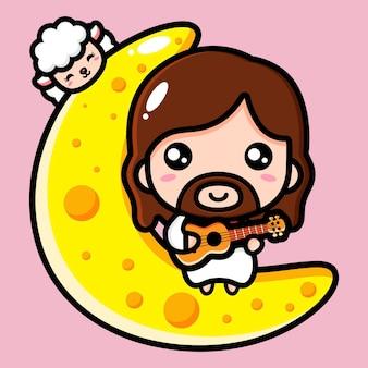 Słodki jezus chrystus grający na ukulele na księżycu