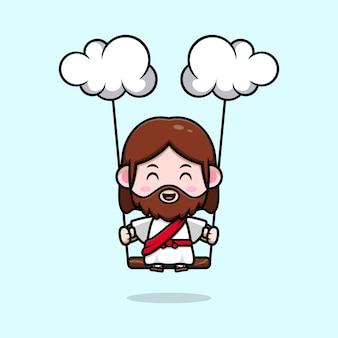 Słodki jezus chrystus kołyszący się na chmurce wektor kreskówka chrześcijańska ilustracja