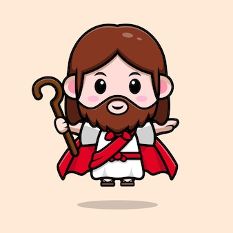 Słodki jezus chrystus latający z szatą i trzymający kij wektor kreskówka chrześcijańska ilustracja