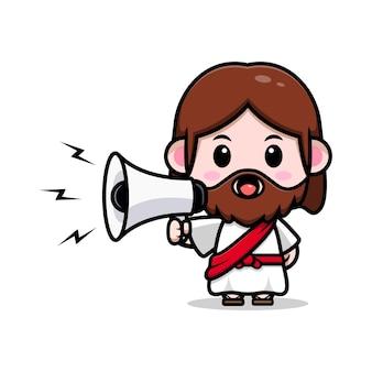 Słodki jezus chrystus przemawiający na megafon wektor kreskówka chrześcijańska ilustracja