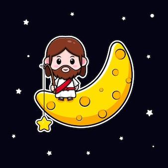 Słodki jezus chrystus siedzący na księżycu i łapiący gwiazdę wektorową chrześcijańską ilustrację kreskówka