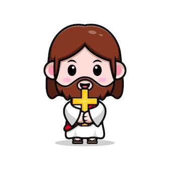 Słodki jezus chrystus trzyma krzyż wektor kreskówka chrześcijańska ilustracja