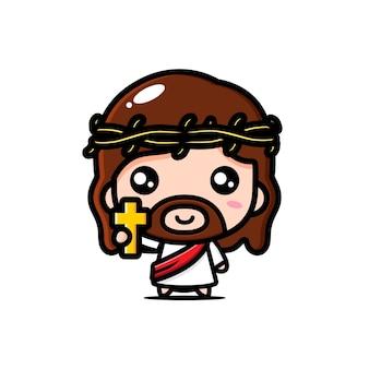 Słodki jezus chrystus trzyma krzyż