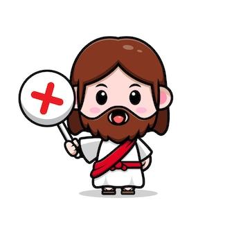 Słodki jezus chrystus trzyma źle znak wektor kreskówka chrześcijańska ilustracja